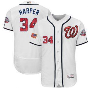 30cf6dbbd Men s Flex Base Stars   Stripes Authentic Washington Nationals Bryce Harper  Jersey Color White